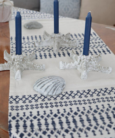 Yksilöllisiä_sisustustuotteita_käsintehty_Blåvilla_kuvassa_kaitaliina_meritähti_kynttilänjalka_betonia